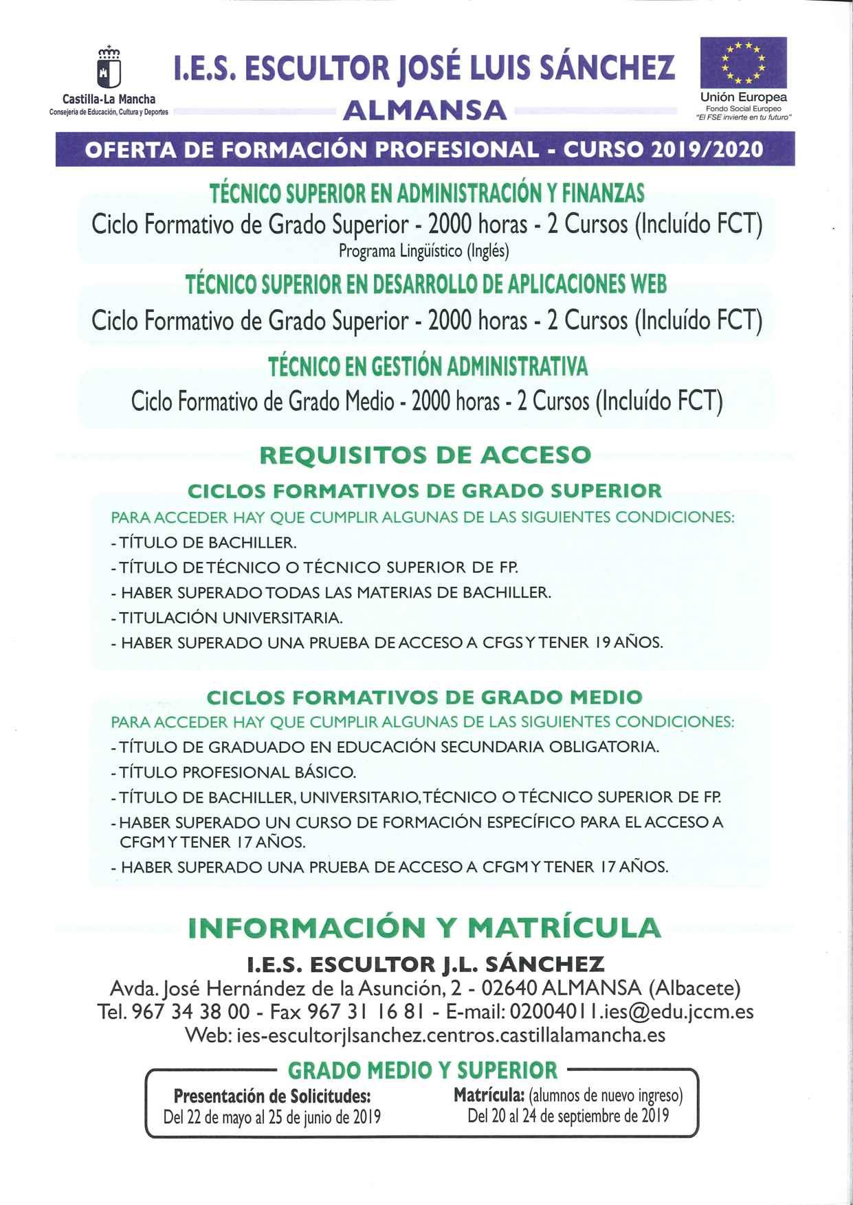 Formación Profesional En El Ies Escultor José Luis Sánchez